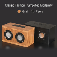 Double horn Wooden Bluetooth speaker portable Subwoofer HIFI music bluetooth audio wood receiver handfree call Wireless speakers