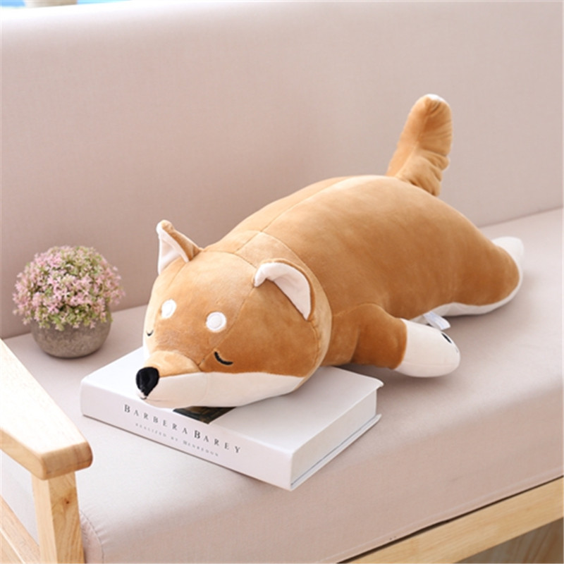 One Piece Kawaii Dog Toy Sleeping Pillow Down Cotton Plush Akita Cushion Children Birthday Present Creative Dolls 2 Size