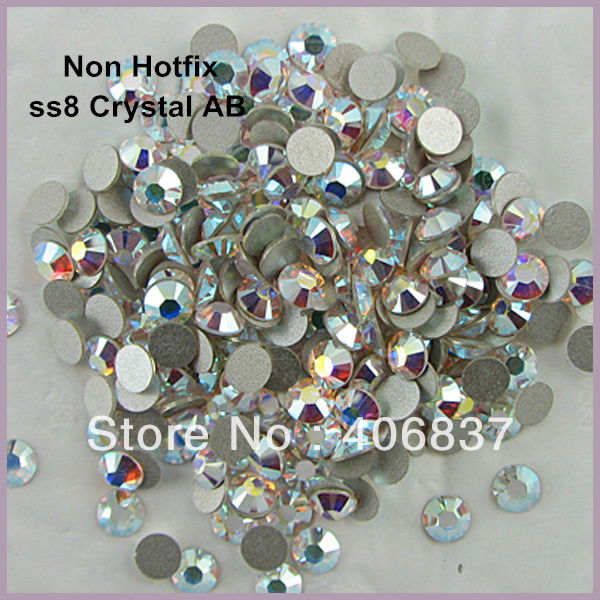 1440pcs/Lot, ss8 (2.3-2.5mm) Crystal AB Flat Back Non Hotfix Rhinestones,  Free Shipping! Nail Art Glue On Rhinestones