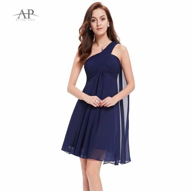 One Shoulder Chiffon Cocktail Dress