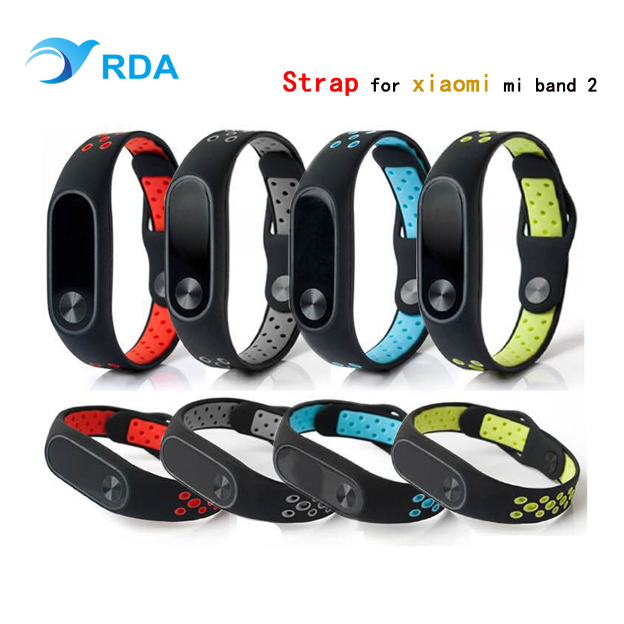 RDA Silicone Strap for Xiaomi Mi Band 2 Bracelet Double Color Replacement Wrist Belt for Mi Band 2 Strap Smart Accessories