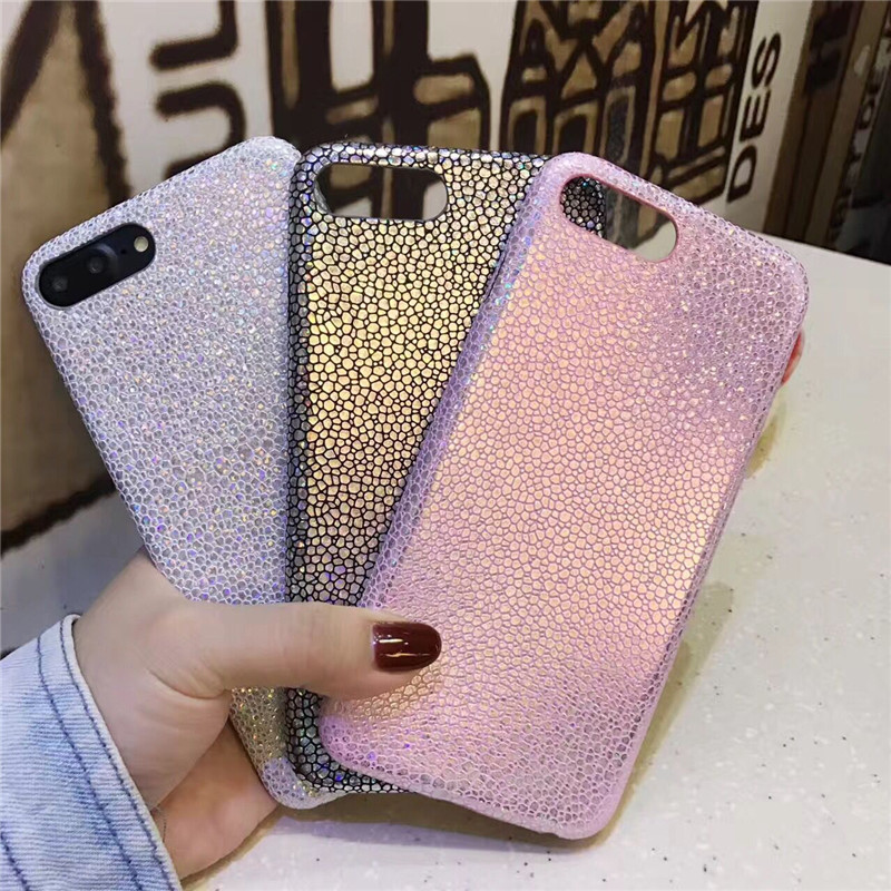 Luxo Faísca Glitter Caso de Telefone para o iphone XS X 8 7 6 6s Plus Ultra Fino de Couro Macio do PLUTÔNIO tampa Traseira colorida para iphone 6 7Plus