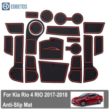 RIO For Kia Rio 4 X-Line RIO 2017-2019 rubber mat door mat anti-slip Cup pad Interior decoration accessory styling Gate slot pad smabee gate slot mat for for kia rio 4 x line rio 2017 2018 interior door pad cup non slip mats red white orange 18pcs