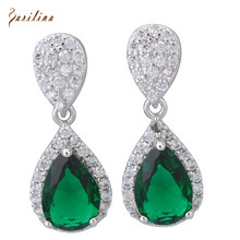 Latest Design Dangle earrings silver Green Cubic Zirconia Earrings for women Fashion jewelry E488(China)