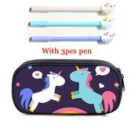 Girls Unicorn Pencil Bag 3PCS Pen Cute School Pencil Box Double Zipper Cosmetic Case Student Kids Stationery Pouch