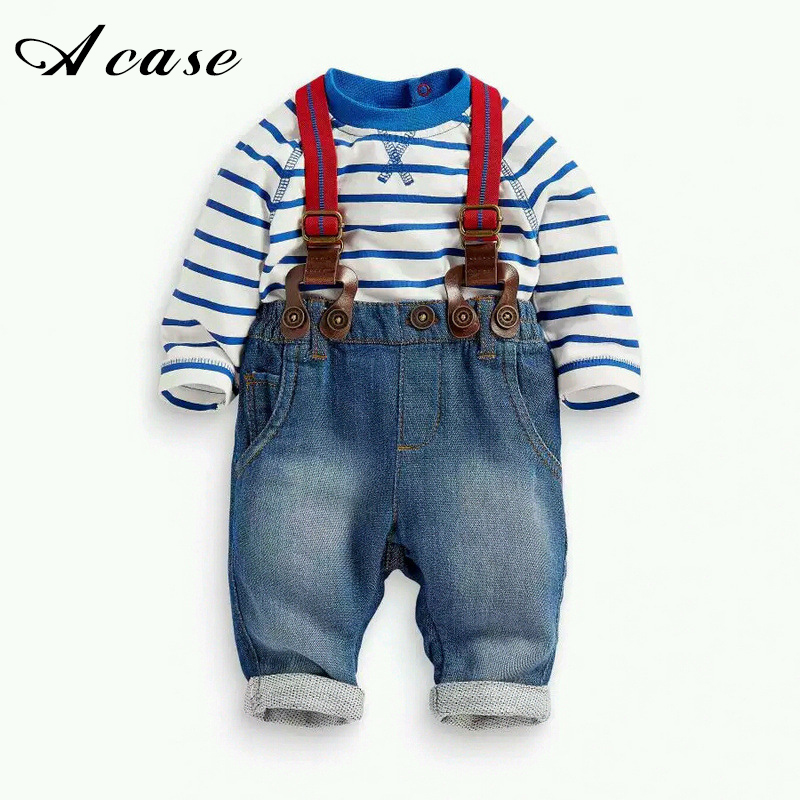 Infant Boy Set 2 Pcs 2017 Spring Autumn Baby Boys Long Sleeve Blue Striped T-shirt Jeans Bib Pants Overall Outfits Clothes Set  free shipping spring autumn boys t shirt 5pcs lot high quality baby boy t shirt