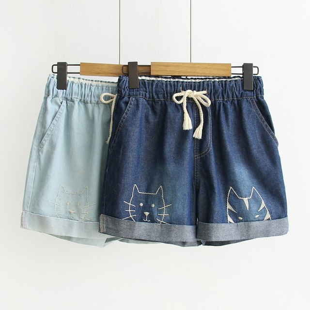 Mori Girl Embroidery Women Denim Shorts Elastic High Waist Wide Leg Female Shorts Cartoon Cat Casual Loose Blue Jeans Trousers