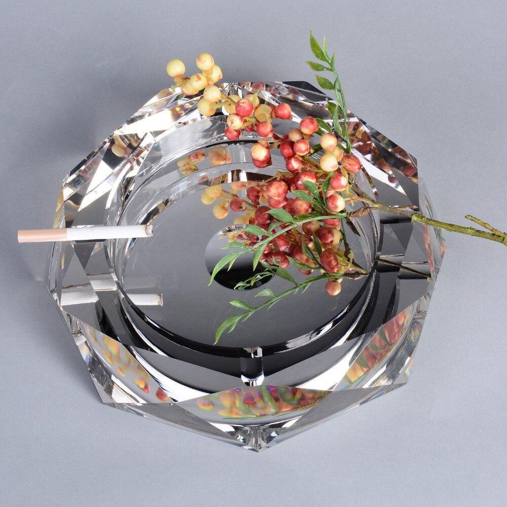 Cendrier en cristal clair de cendrier de cigare de plateau de cendre extérieur d'intérieur 7009-250 pour le décor de table de bureau d'hôtel