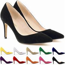 2021 New punta a punta moda donna Solid Flock tacchi alti 9cm scarpe scarpe basse da donna scarpe da festa scarpe da ufficio per donna