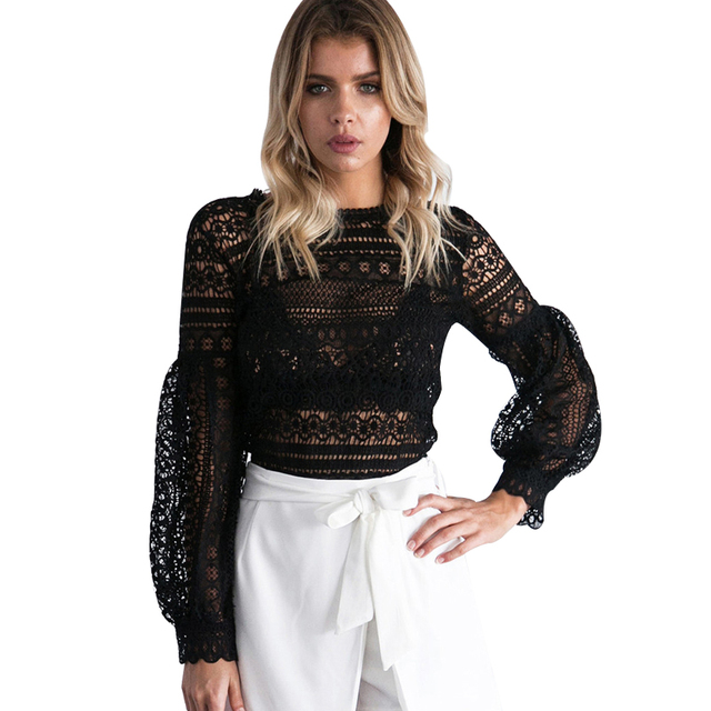 2016 Autumn Winter Lantern Sleeve Black Lace Blouse Shirt Sexy Hollow Out Crochet Floral Blusas Top Office Party White Blouse