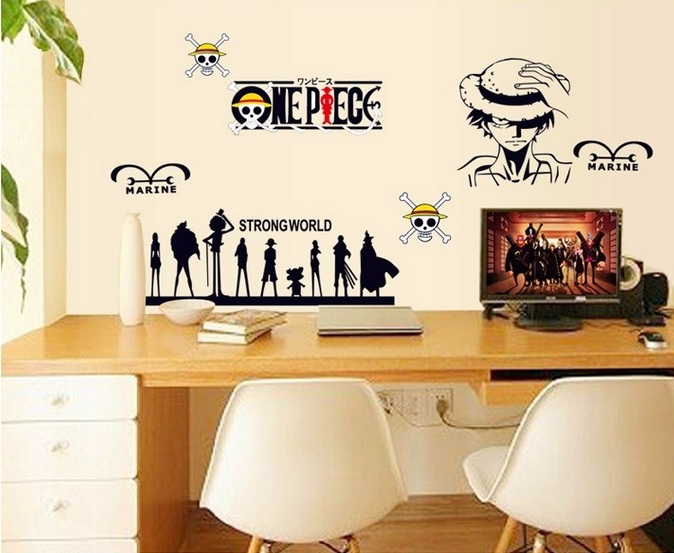 Kids Bedroom Background removable vinyl home decoration cartoon one piece monkey d luffy
