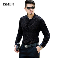ISMEN Men Shirts Spring Long Sleeve Velvet Shirt Male Business New Fashion Dress Shirt Masculina Camisa