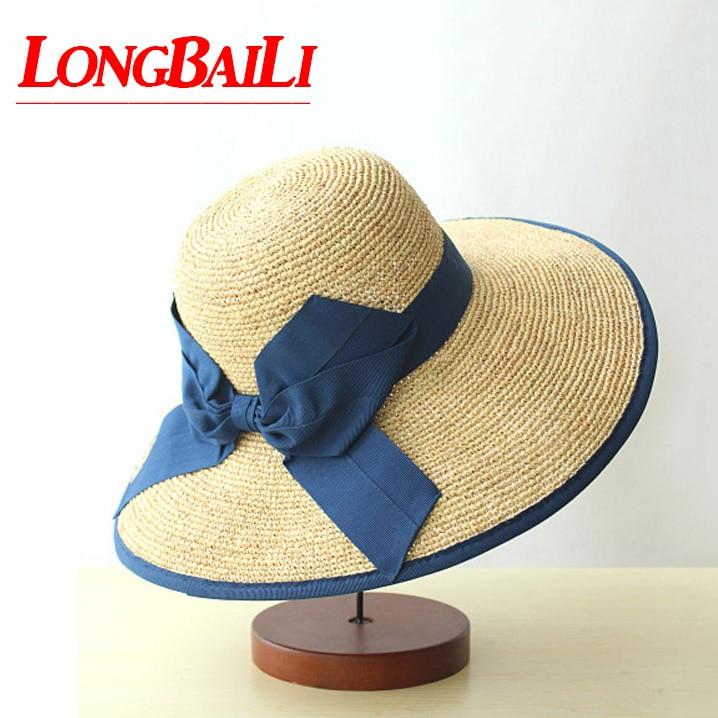High Quality 59cm Big Headsize Raffia Straw Floppy Hats For Women Large Brim Bow Sun Beach Caps Free Shipping SWDS004