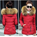 winter jacket women GZGOG Women's 2016 winter Cotton coat Artificial raccoon fur collar Slim jacket female coat Cotton & Parkas