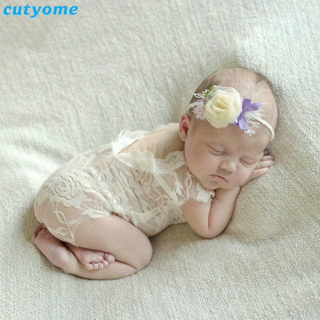Cutyome baby romper overall white newborn photography props shoot princess girl roupa babys photography props infant
