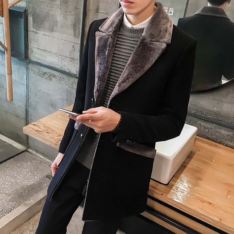 Coat Men Long-Jacket Manteau Wool-Blend Male Winter Warm Mid Solid Fur-Collar Homme Size-M-5xl
