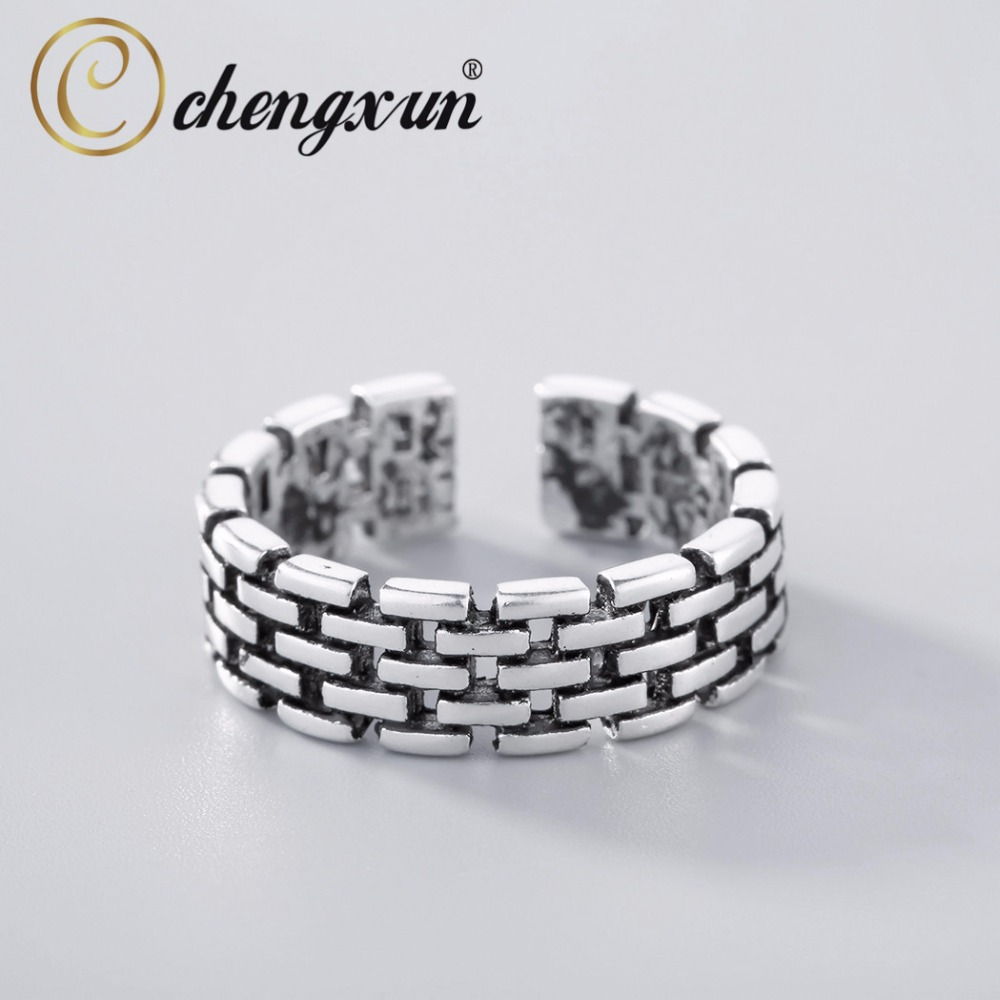 CHENGXUN Tiny Brick Link Chain Simulated City Wall Hip Hop Midi Rings for Men Women 925 Silver Classic Jewelry