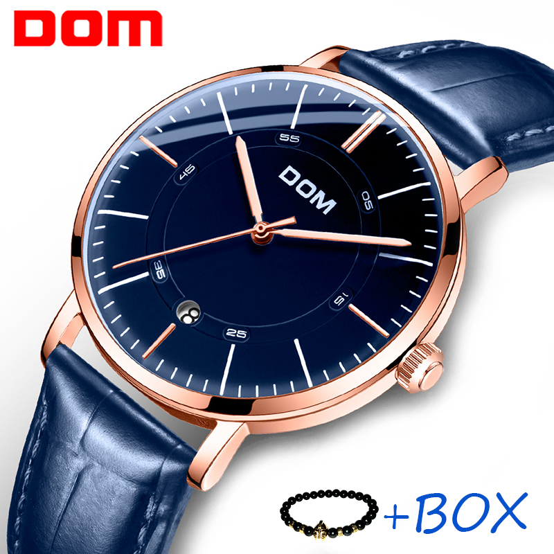 DOM Fashion Mens Automatic Skeleton Mechanical Watch Leather Strap Business Men Watch Auto Date Wristwatch Waterproof Watch Mann цена