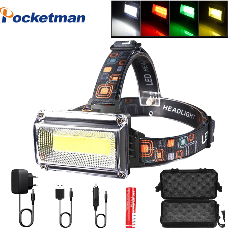 Super Powerful COB LED Headlamp DC Rechargeable Head Lamp Torch Headlight 18650 Battery Waterproof Hunting Camping Lighting