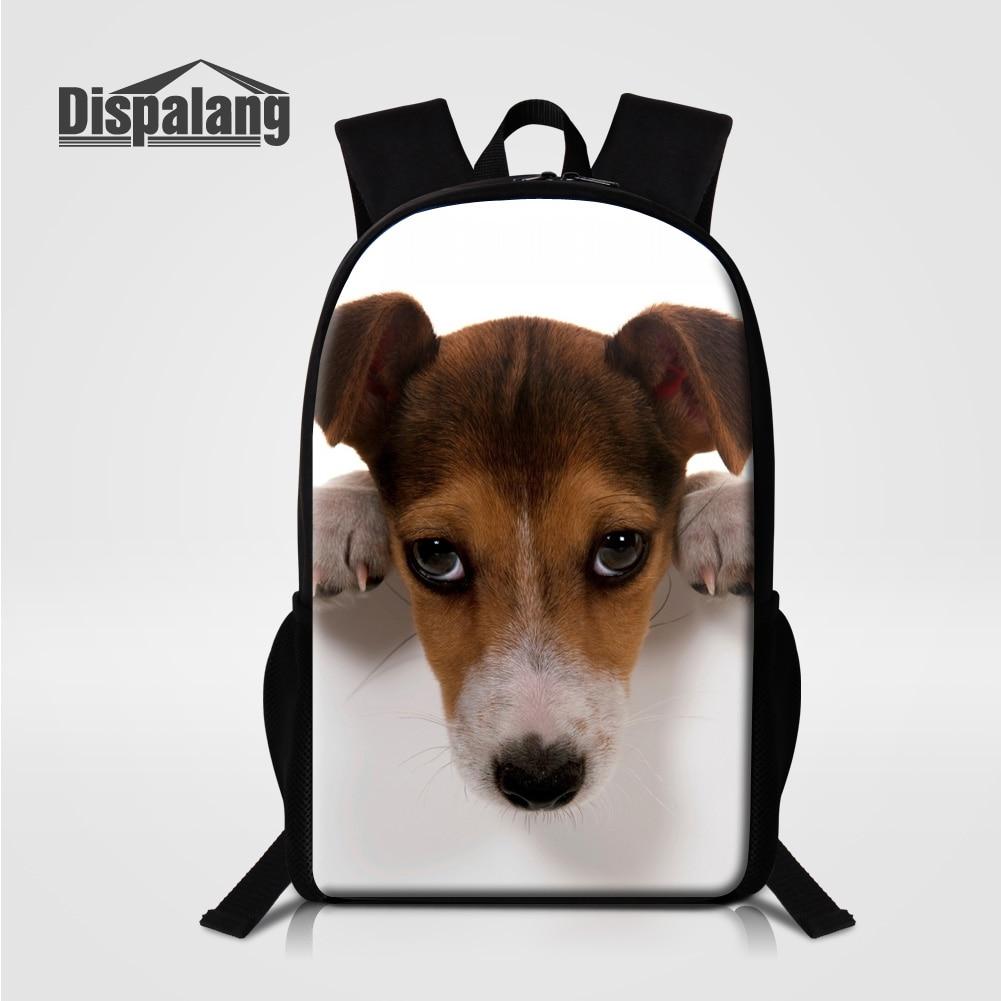 Dispalang Jack Russel šunų spausdinimo kuprinė berniukams Mopsų šuniuko šuo Knapsack Vilkas Vienaragis gyvūnas Spausdinti vaikai Mokyklos krepšiai