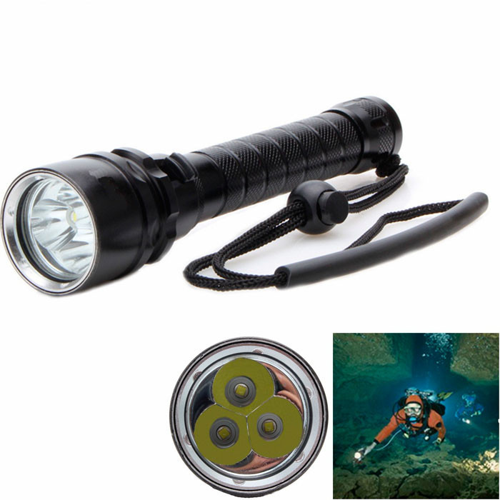 3T6 4000Lumen LED Diving Flashlight Underwater 100m 3x CREE XML T6 LED 18650 battery Dive Torch Waterproof Flash Light for Diver фонарик 4000 3t6 3 x xml t6 18650