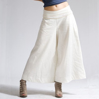Spring And Summer Casual Lace Decoration Linen Pants Culottes Fluid Trousers Female