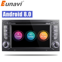 Eunavi 7 Octa 8 Core 64 bit 32GB Android 8.0 Car DVD Player 2 din for Audi A4/S4(2003 2013) with TPMS/OBD2/4G/DAB+/ Maps GPS