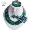 Laanc Classic Army Verde y Plata boda nigeriano beads africanos joyería conjunto cristal C2761