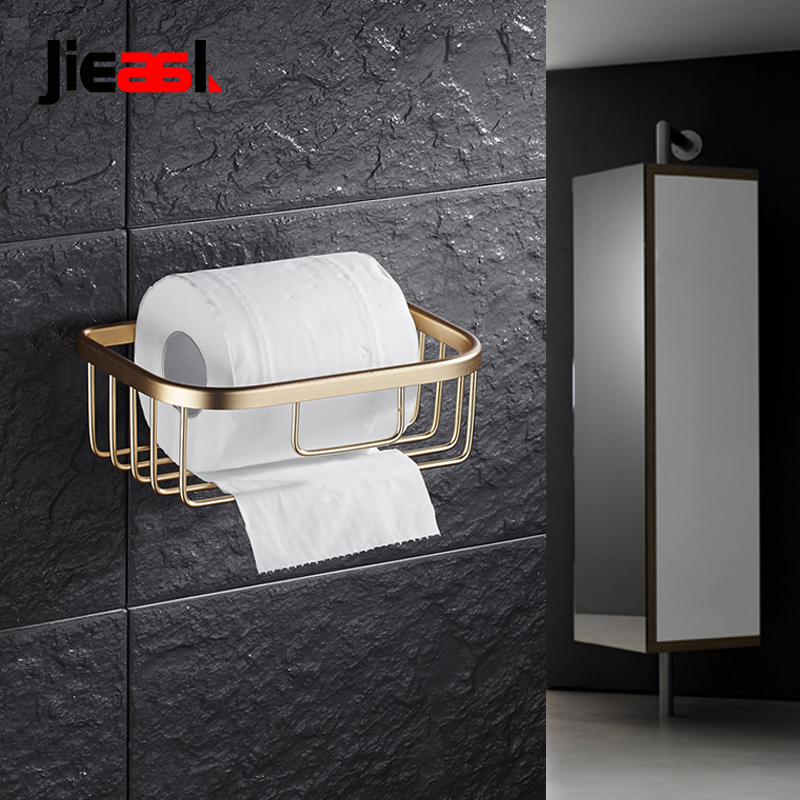 Newly Toilet Paper Holder With Shelf Aluminium Black Toilet Roll Holders Stand Towel Tissue Basket Gold WC Paper Holder