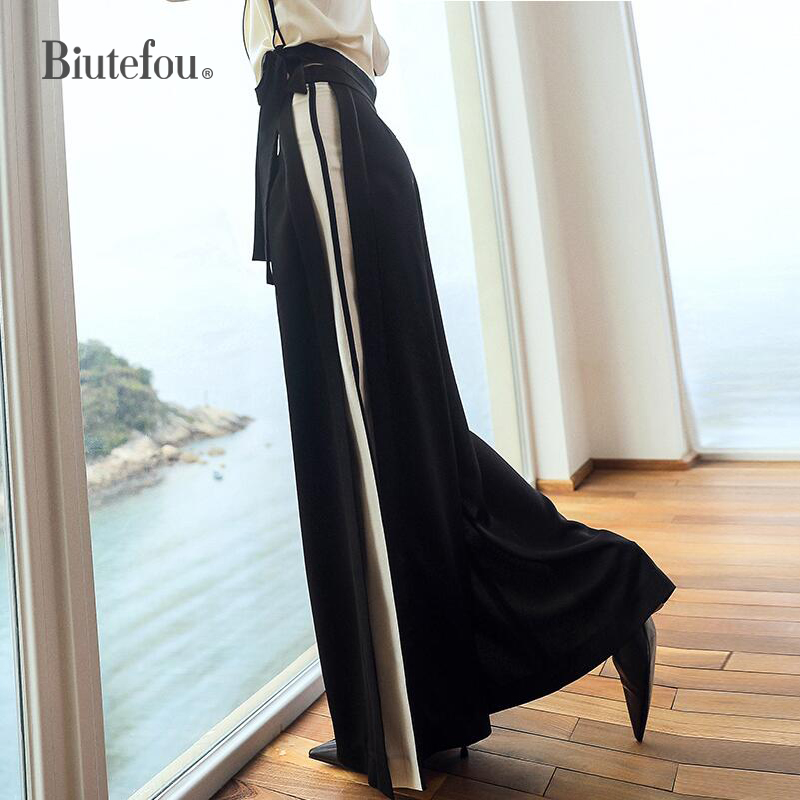 [Biutefou] 2019 Spring fashion designs striped patchwork long   pants   panelled high waist women spliced   wide     leg     pants