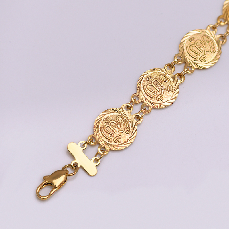 MxGxFam 20 cm Religion Islamic Allah Bracelet Jewelry For Women Pure Gold Color Allergy Free