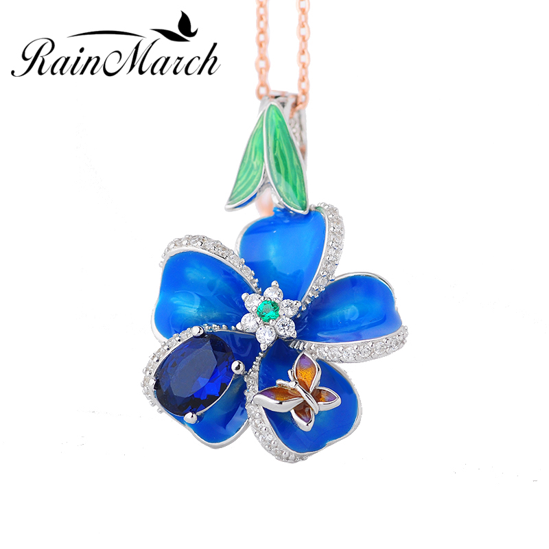 RainMarch 925 Sterling Silver Pendant For Women Necklace Blue Enamel Flower necklace Pendant With CZ Enamel Jewelry accessories chic women s flower pendant necklace