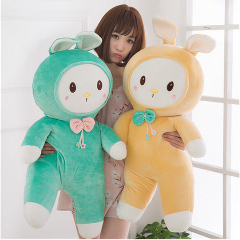 Fancytrader Soft Plush Bunny Pillow Toy Big Giant Lovely Stuffed Cartoon Animals Rabbit Doll Cushion 95cm Girls Birthday fancytrader new style giant plush stuffed kids toys lovely rubber duck 39 100cm yellow rubber duck free shipping ft90122