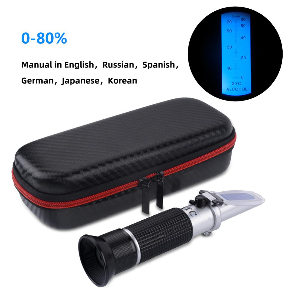 Hot New Shockproof Packaging Hand-held 0-80% Alcohol Refractometer Alcohol Concentration Meter Liquor Alcohol Tester