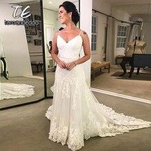 สปาเก็ตตี้สายรัดชุดแต่งงานลูกไม้แขนกุดเปิดหลังความยาวชั้น Sweep Train ชุดเจ้าสาว Vestido De Noiva