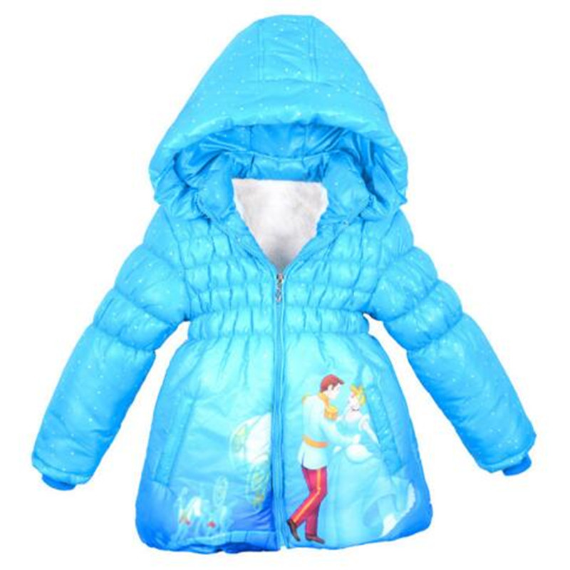 Girls Jackets Thickening Warm Outerwear Children Clothing Cartoon Cinderella Hooded Jacket Coat Winter 2018 Fashion Kids Jacket