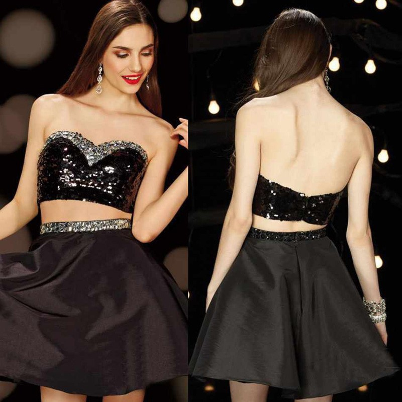Short Sexy Black Two Piece Sequined Taffeta A-Line Mini Sweetheart Crystal Prom Party Gown Beaded 2018   bridesmaid     dresses