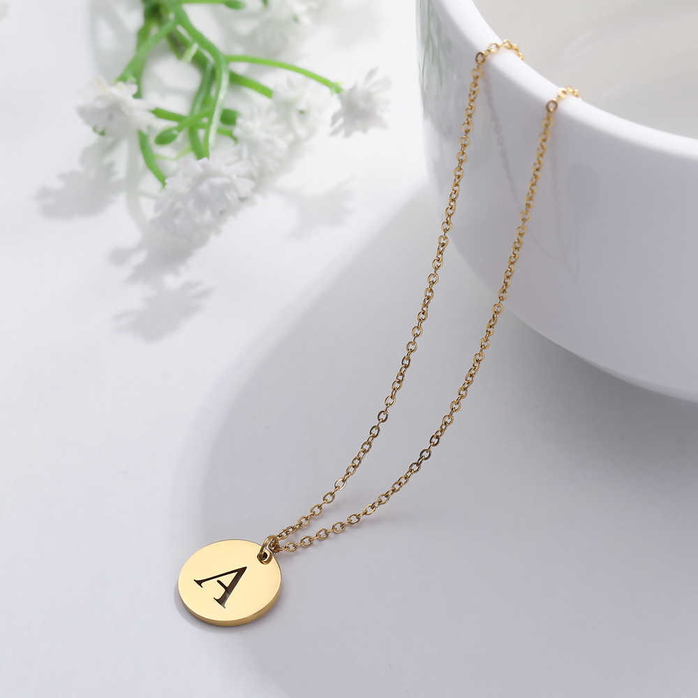 Skyrim Silver Gold Stainless Steel 26 Letter Necklace A-Z Alphabet Round Pendant Jewelry Choker Chain Necklaces For Women Gift