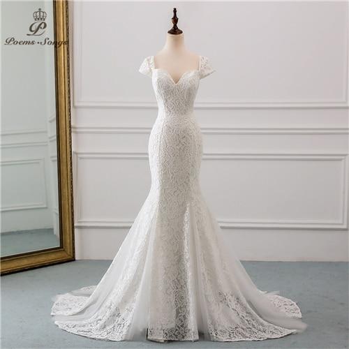 PoemsSongs 2019 New Cap Sleeve Style Lace Wedding Dress For Wedding Vestido De Noiva Mermaid Wedding Dresses Ivory / White Color