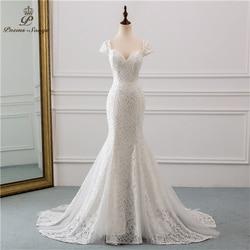 PoemsSongs 2019 new cap sleeve style lace wedding dress for wedding Vestido de noiva Mermaid wedding dresses ivory / white color 1