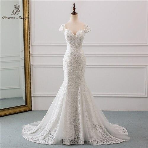 PoemsSongs 2019 nouveau cap manches style dentelle robe de mariée pour robe de mariée de noiva sirène robes de mariée couleur ivoire/blanc