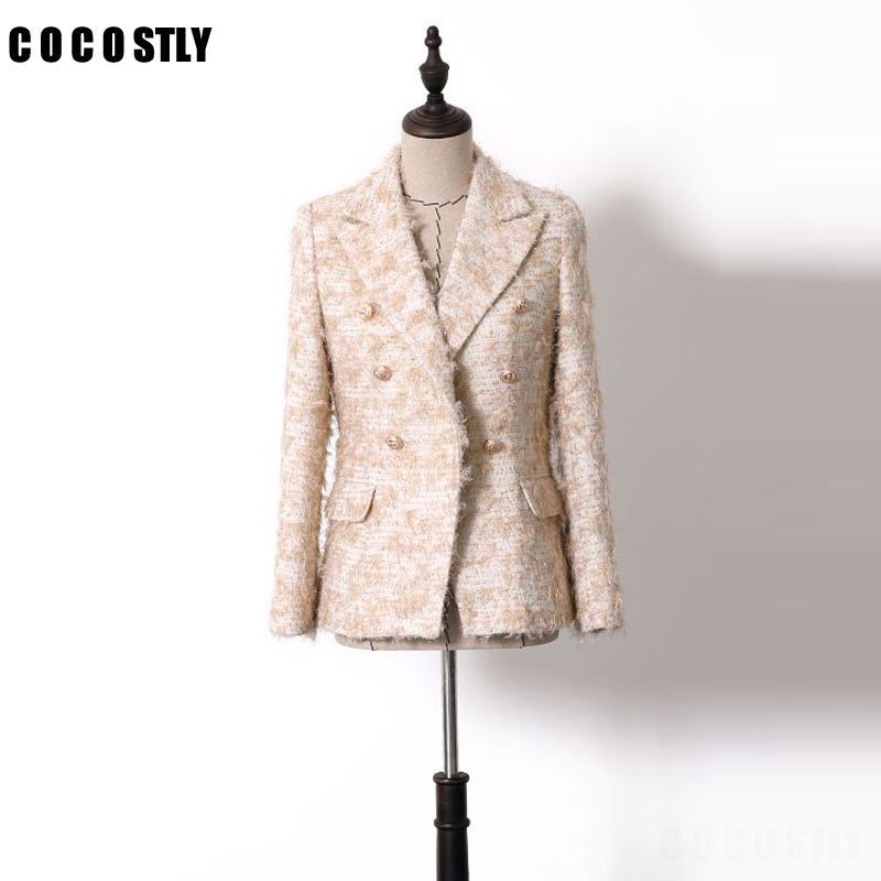 New 2019 Spring Autumn Fashion Balzer Women Gold Color Button Double Breasted Women Blazers And Jackets Lurex Tassel Outerwear