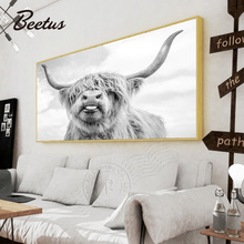 Black And White Freedom Highland Cow Print Poster Canvas Paintings For Living Room Home Decor Yak Wall Art Picture Artwork