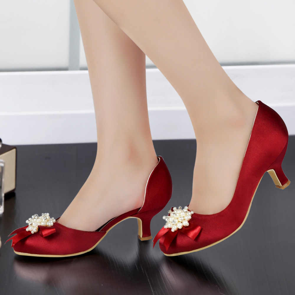 ed2cfbc9146 Detail Feedback Questions about Woman Shoes EP100114 Burgundy Round Toe  Pearls Rhinestone Bow Low Mid Heel Satin Bride Bridesmaid Wedding Evening  Bridal ...
