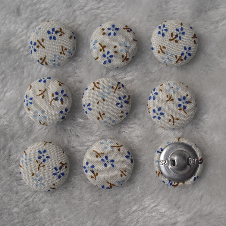 Free Shipping 100pcs/lot 20mm 2cm Cotton Prints Made By Hand Fabric Cover Button Cloth Covered Buttons Component With Shank E118