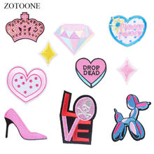 ZOTOONE Heart Letter Patches Diamond Stickers Diy Iron on Clothes Heat Transfer Applique Embroidered Applications Cloth Fabric G(China)