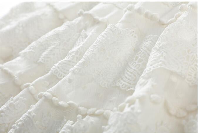 Patchwork Sexy Perles Ligne Vêtements D'été Lanterne Pour Manches Femmes Robes Une Mode Robe Doux Blanc V Mini Cou x1wX18qr