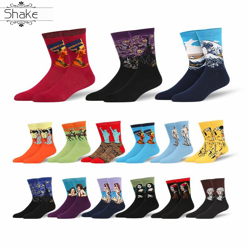 Shake Starry Night Women Personality 3D Painting Art Van Gogh Mural World Statue Of Liberty Male Socks Oil Women Socks Men Sox
