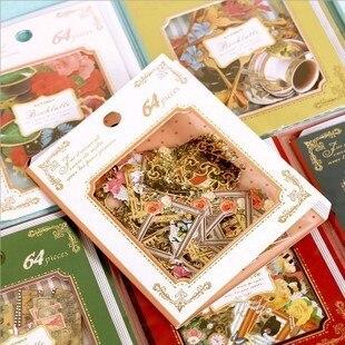 64 pz stile dell'europa forme di taglio adesivi, cute cat/farfalla/fiore scrapbooking adesivo decorativo 10 modelli