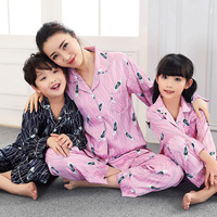 Family Matching Pajamas Sets Mother Daughter Son Fits Feather Print Long Sleeve Ice Silk Family Matching Sleepwear Nightwear